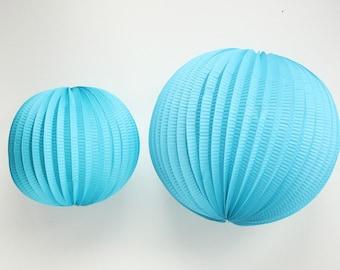 Turquoise Accordion Lanterns. 8