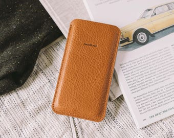 "Pouch for Samsung Galaxy S8, Italian vegetable-tanned leather, wool felt, ""Dandy"""