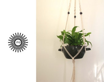 macrame cotton plant hanger with wood beads/long/navy wood/
