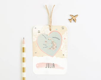 Heart Map luggage tag place card