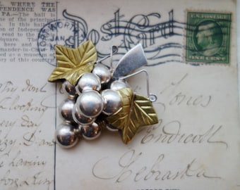 Lg Sterling Grapes Cluster Brooch w gold leaves Mexico Silver Pendant