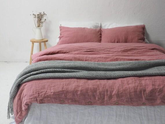dusty pink linen duvet cover create your bedding set of. Black Bedroom Furniture Sets. Home Design Ideas