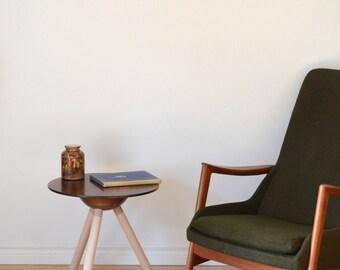 Walnut and maple side table knock dowel leg