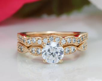 Forever One Moissanite Engagement Ring with Vintage Diamond Wedding Band Set