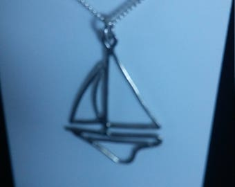 Sterling, sailboat necklace