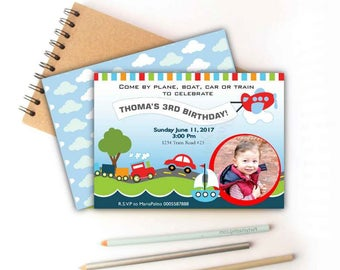 Printable Transportation Invitation, Birthday Invite,   Event Invite -D351