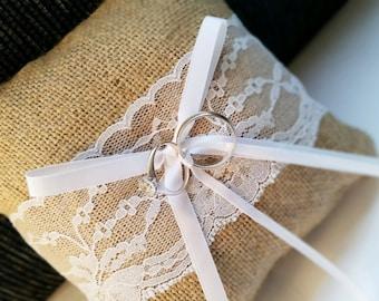Vintage Rustic Burlap Wedding Ring Bearer Pillow