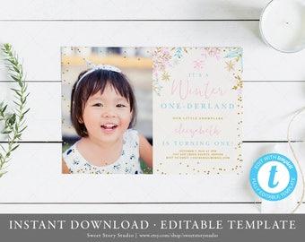 Winter Onederland Birthday Photo Invitation | Instant Download, Editable, Printable |  Snowflake, Winter Onderland, First Birthday | DC001