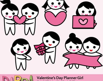 Date night clipart / cute couple / planner sticker clipart commercial use / planner girl date day clipart download, digital images