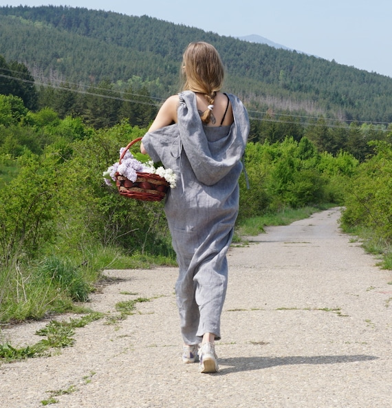 Linen Baggy Overall, Summer Hooded Jumpsuit, Oversized Linen Romper, Loose fit Baggy Overall, Extravagant Drop Crotch Jumpsuit, Maxi Jumper