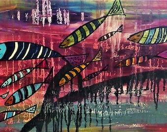 (2) naïve painting / abstract