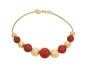 14K Gold Filled Bracelet with Brown Reddish Balls