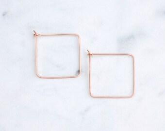 Rose Gold Hoop Earrings, Square Minimal , Large Square Hoops in Pink Gold, Modern Minimalist Handmade Earrings in Hammered Wire, Wire Hoops