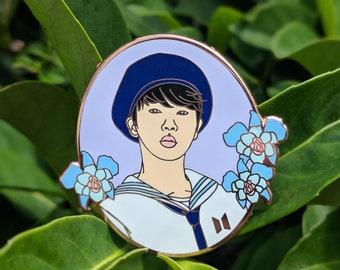 "BTS Jin ""Season's Greetings"" 2 inch pin"