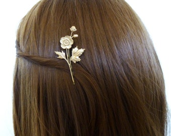 Flower Bobby Pin Floral Hair Clip Gold Fairytale Fairy Tale Nature Garden Botanical Forest Woodland Accessories Vintage Style Womens Gift