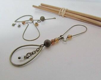 Kit drop earring in metal-bronze Pearl Czech glass - 8.3 cm - 223