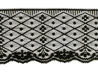 Wide Black Lace Trim 2 1/2 inches x 3 Yards