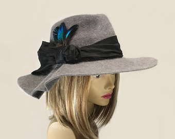 Katrina,  Velour Felt wide brim Fedora women millinery hat,  color grey heather with silk dupioni band