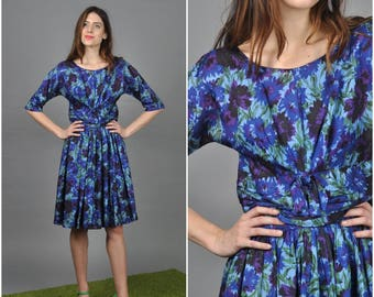 1950s Cornflower and Iris Garden dress | vintage 1950s dress | blue purple floral 50s dress