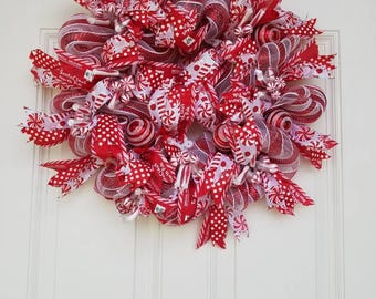 Christmas Wreath-  Holiday wreath - Red and white wreath - peppermint wreath- Candy wreath