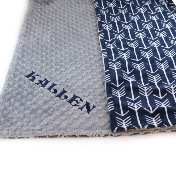 Personalized Baby Blanket, Arrow Minky Baby Blanket Boy, Silver Gray Navy Arrow Baby Blanket, Soft Baby Blanket // Baby Shower Gift