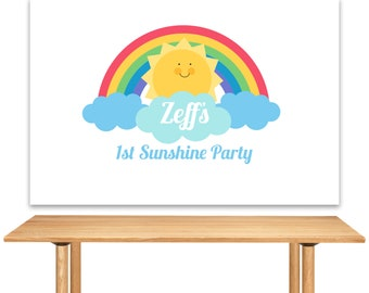 DIGITAL FILE Sunshine, Rainbow, Sun, Birthday Party Backdrop, You Are My Sunshine Large Scale Backdrop Printable 60x40inches