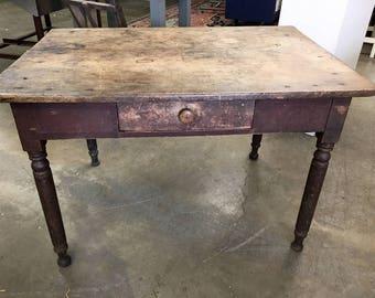 Antique farm tables etsy antique primitive work kitchen farm table 325d4675w2325h295h one board workwithnaturefo
