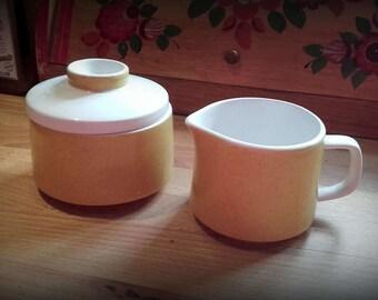 Vintage 60's Mediterianna Empire Gold Cream and Lidded Sugar bowl set