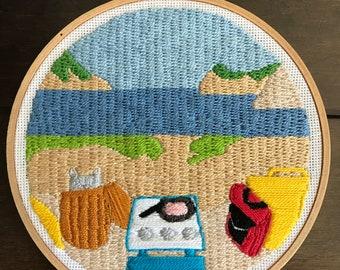 Moonrise Kingdom Inspired Hand Embroidery Hoop Art