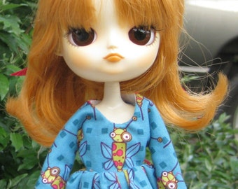 Dal 9.  bold blue dress with bee pattern for Dal dolls