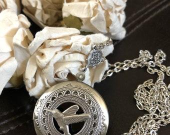 Hummingbird necklace locket, hummingbird gift,  hummingbird jewelry, Valentine's Day gift