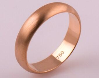 Matte Wedding Ring 14K / 18K Rose Gold Wedding Band, Satin Ring, Plain Wedding Band, Brushed Wedding Band, Classic Wedding Ring, Comfort Fit