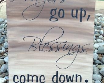 Prayers go up, blessings come down.  Inspirational art.  Word art.  Canvas wall art.  Home decor.  Spiritual art.  16x20.