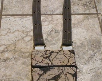 Bird Maroon/Brown/Tan Burlap and Corduroy Crossbody/Messenger Bag w/ Repurposed Belt Strap - Homestead/Farmhouse Fashion