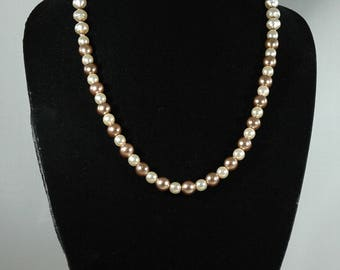 Brown and Cream Faux Pearl Necklace #1