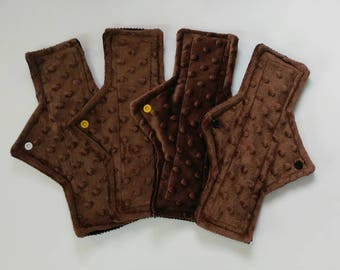 4pc cloth pad starter set, minky, light, moderate, super, 10.5 inch length, corduroy backed, brown,square shape, ready to ship, starter pack