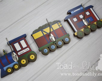 Set of 3 Express Train Transportation Boys Clothes Peg Rack Clothing Racks, Hat Holder for Kids Bedroom Baby Nursery