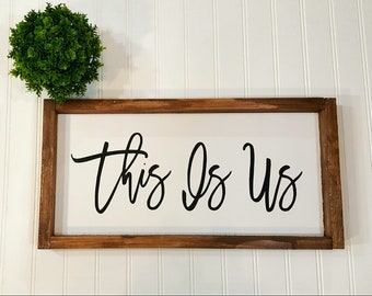 "This Is Us Framed Farmhouse Wood Sign White Farmhouse Home Decor Wood Sign 8"" x 17"" Fixer Upper Style"