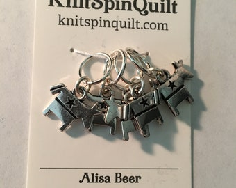 MISCELLANEOUS silver charm knitting stitch markers -- set of five -- DISCOUNT & CHANCE
