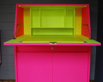 neon furniture. SOLD * Vintage Remploy Bureau Desk, Painted Bright Neon Pink And Yellow, 1960s Mid Furniture E