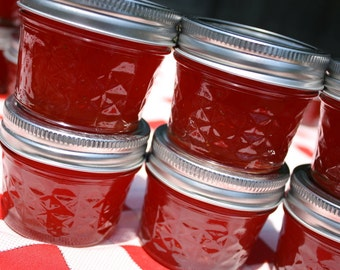 Jam party favor, 24 4oz sample jars of our homemade strawberry pineapple jam wedding or shower favor