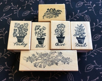 Vintage Rubber Stamps-Garden Herb Themed Rubber Stamps-Herbs-Garden Basket-Rose Vine-PSX-Personal Stamp Exchange Classic Stamps