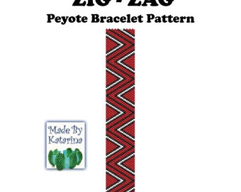 Peyote Pattern - Zig-Zag - INSTANT DOWNLOAD PDF - Peyote Stitch Bracelet Pattern - One Drop Even Peyote Pattern - Beginner Pattern