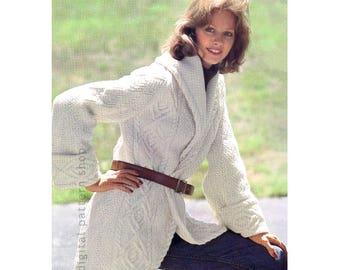Aran Sweater Pattern Shawl Collar Wrap Cardigan Sweater Knitting Pattern Womens Jumper PDF Instant Download Pattern- K115