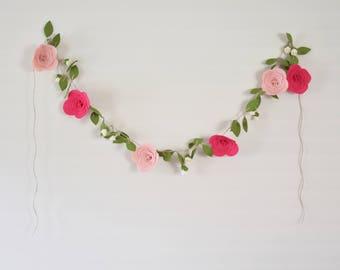 Felt Floral Garland - Pink Flower Garland - Baby Girl's Nursery Decor - Boho Flower Garland