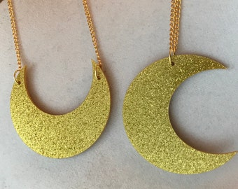 Large Gold Glitter Crescent Moon Necklace ~ Gold Plated Chain ~ Acrylic Statement Pendant ~ Luna Moon Witch Jewelry