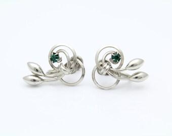 Vintage  Flower Earrings Sterling Silver Green Rhinestones Screw Backs. [8130]