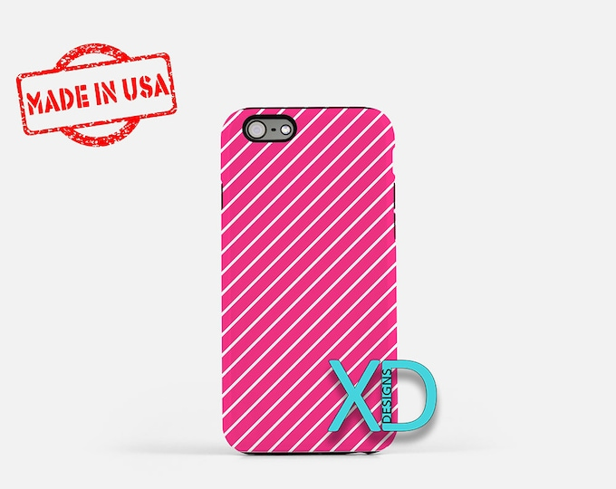 Neon Pink Phone Case, Neon Pink iPhone Case, Pinstripe iPhone 7 Case, Pink, Pinstripe iPhone 8 Case, Neon Pink Tough Case, Clear Case, Lined