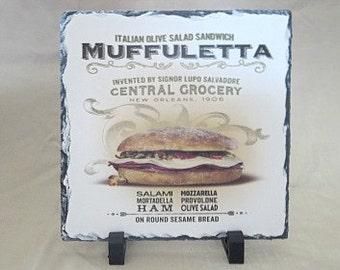 Muffuletta on Slate - French Quarter Art - New Orleans Art - Cajun Cooking - Slate Artwork - Artwork Gift - Slate Gift - New Orleans Gift