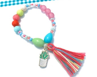 Colorful Succulent Charm Bracelet - cactus accessory, cactus charm, cactus jewelry,  beaded bracelet,  succulent bracelet, succulent charm